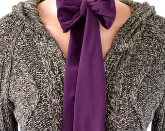 Plum Scarf Purple Neck Tie Lightweight Scarf Ascot Tie Neck Bow Purple Christmas Gift Under 20 Cravat Deep Purple Head Wrap Womens Necktie