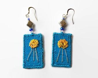 boho silk earrings, textile earrings, fiber art earrings, hippie earrings, festival jewelery, crocheted earrings, blue - yellow, embroidered