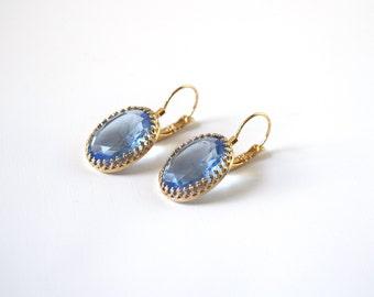 Blue Crystal Earrings, Light Blue Crystal, Sky Blue Earring, Baby Blue Rhinestone, Blue Jewelry, Georgian Earring, 18th Century, Antoinette