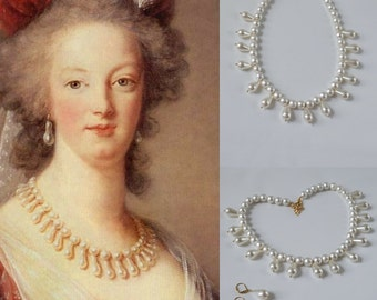 Marie Antoinette Necklace, Georgian Pearl Necklace, 18th Century Jewelry, Reproduction Jewelry, Rococo Pearl Necklace, Historical Jewelry