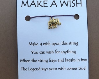 Elephant WISH STRING Goldtone Bracelet String Band Friendship Bracelet Cord Color Choice