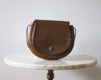 Bag Leather Purse Brown Mini Pouch - 1970s Vintage FREE SHIPPING