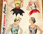 Simplicity 4350 Fitted Sleeveless Blouse Tops Round Square Neck Women's Misses Easy Vintage 1950s Sewing Pattern Bust 34 Partly Cut Complete