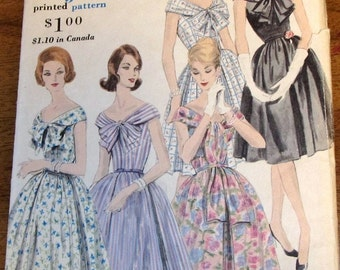 Vogue 5038 Off Shoulder Fit Flare Dress Bow Collar Inverted Pleat Cap Sleeve Womens Misses Vintage 1960s Sewing Pattern Bust 36 Complete Cut