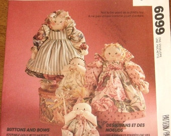 "McCall's 6099 771 P387 Stuffed Dolls with Novelty Hair, Clothes 26"" Mother 11"" Bunting Baby Vintage Craft Sewing Pattern Uncut Factory Folds"