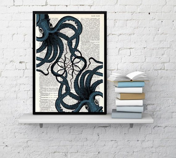 Octopus print- Dictionary art print- Octopus meeting art, Wall decor Octopus art, Ocean art print, Octopus Poster print, Sealife art BPSL062
