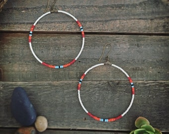 SANTA FE - Cream - Southwestern Inspired Beaded Hoop Earrings
