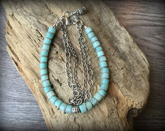 Calm Waters - Three Strand Sterling Silver Amazonite Bracelet