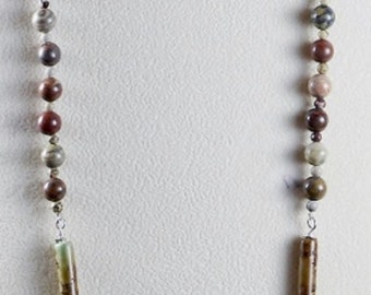 """Earthtone African Turquoise and Jasper Bead 30"""" Necklace"""