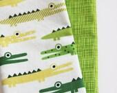 Kids Napkins - Green Alligators - Set of 2 Kid's Size Reversible Napkins