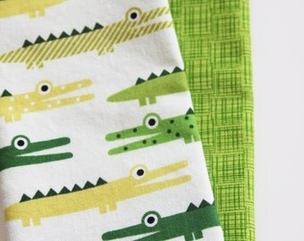 Kids Napkins - Green Alligators - Set of 2 Kid's Size Reversible Napkins