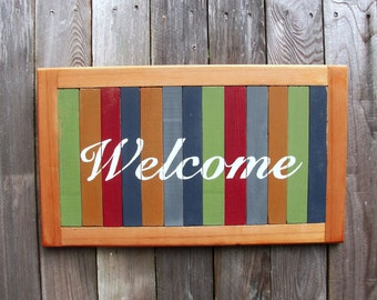 Welcome wood sign upcycled cedar painted