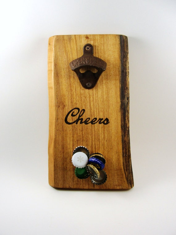 Wall mount bottle opener cast iron magnet cap catcher cheers - Bottle opener wall mount magnet ...