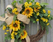 Sunflower Wreath, Spring / Summer Wreath, Burlap Sunflower Wreath, Burlap Sunflower Decor, Burlap Spring Wreath, Horn's Handmade, Spring
