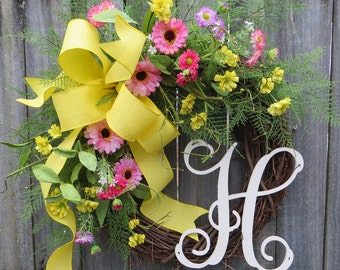 Door Wreath, Spring Monogram Wreath, Wreath for door, Bright Springtime Yellow and Pink, Spring / Summer Wreath, Floral Front Door