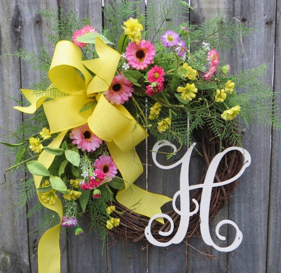 Door Wreath, Spring Monogram Wreath, Wreath for door, Bright Springtime Yellow and Pink, Spring / Summer Wreath, Floral Front Door