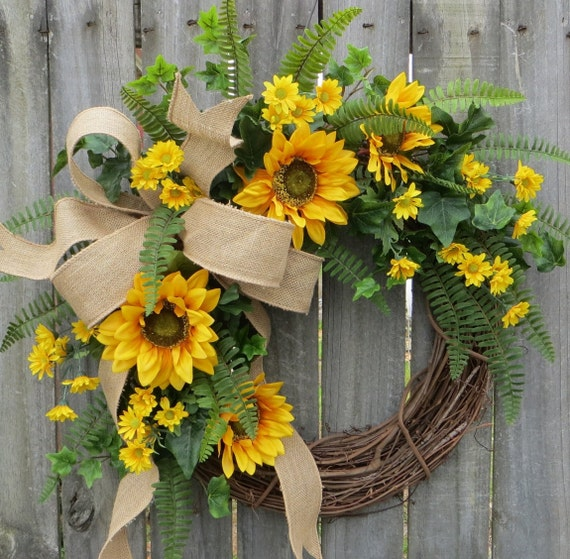Sunflower Wreath, Spring / Summer Wreath, Burlap Sunflower Wreath, Burlap Sunflower Decor, Burlap Spring Wreath, Horn's Handmade, Spring