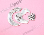 1 - Silver Tone Big Sis Middle Sis Baby Sis Heart Charms, Sister Heart Charm, Daughter Charm, 30mm (3-1E)