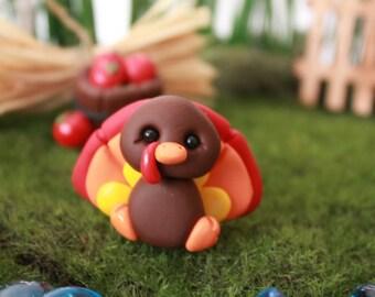 Polymer Clay Turkey- Miniature Turkey -  Terrarium Accessory - Fairy Garden - Miniature Garden