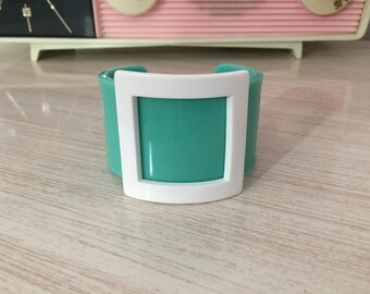 1980's Pastel Teal Or Robin's Egg Blue And White Lucite Buckle Cuff Bracelet ~ Looks To Have Never Been Worn