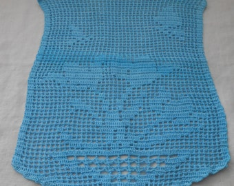 Chair Arm Cover, Crocheted, Hand-Dyed Aqua, Filet Crochet