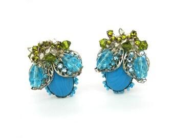 Miriam Haskell Earrings. Frank Hess. Turquoise Art Glass, Aqua Rhinestones, Twist Glass. Silver Tone Filigree. Signed 1940s Vintage Jewelry.