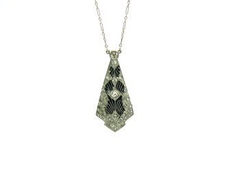 Edwardian Filigree Necklace. Black Enamel & Paste Crystals. Silver Spider Web Pendant. Long Fine Chain. Antique Art Deco Jewelry, c. 1910's.