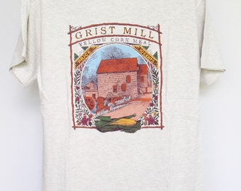 Grist Mills T Shirt Mens Medium Unisex Womens Tee Shirt Vintage Farming Chef Baker Cook Southern Yellow Corn Meal Grits Cornbread Bread