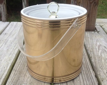 Gold Vinyl Ice Bucket Vintage Barware