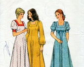 1970s Empire Waist Maxi Dress Pattern Style 4489 Vintage Sewing Pattern Boho Prairie Square Neckline Puff Sleeves Dress Bust 34 FF Unused