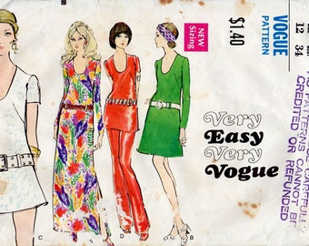1970s Dress, Tunic and Pants Pattern Vogue 7784 Vintage Sewing Pattern A-Line Low Neckline Mini or Top & Trousers Bust 34