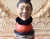 Vintage Style Folk Art one of a kind Dracula vampire Halloween container  Primitive HAFAIR Penny Grotz