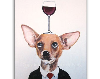 Chihuahua Painting, Wine Art, Dog with wineglass by painter Coco de Paris