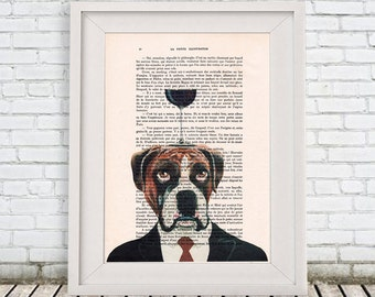 Boxer Print: Art Poster Digital Art Original Illustration Giclee Print Wall Hanging Wall Decor Animal Painting,Bulldog with wineglass