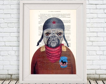 Happy French Bulldog Print, Frenchie with helmet,Bulldog Aviator, Bulldog Artwork, French Vintage Paper, Nursery Artwork, Wall Art Prints