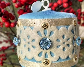 Baby Blue & Glimmer Gold Lace Drum Sequin Ornament by Distinguished Flamingo