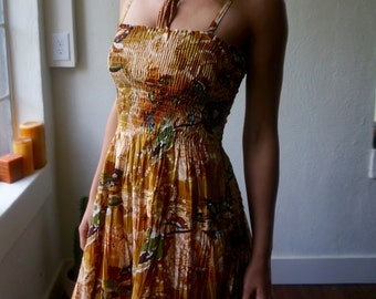 Vintage Sundress S M L Mustard Gold Batik India Floral Boho Hippie Gypsy Mod Bohemian Tan Tribal Art Hipster Psychedelic Folk Festival Dress