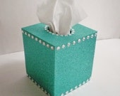 GLITTER & BLING Tissue Box Cover in Sparkling Fine Glitter w/ Clear Rhinestones - Turquoise/Teal or a Variety of Colors