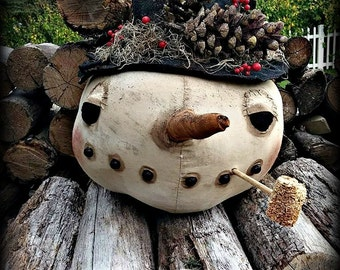 Snowman | Primitive Snowman | Folk Art Snowman | Snowman Doll | Rustic Snowman Centerpiece | Holiday Decor | Christmas Present |