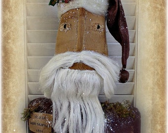 Primitive Santa Centerpiece | Santa Doll | Christmas decor | Folk Art Santa | Primitive Country Christmas | Santa Claus | Holiday Decoration