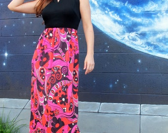 1960s 70s psychedelic spiral fractal floral DRESS bright maxi tank shift keyhole maxi // size S / M / L