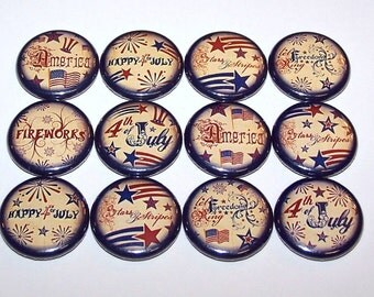 """Vintage Style 4th of July Buttons Party Favors Set of 12 Buttons 1"""" or 1.5"""" Pin Backs or 1"""" Magnets Stars and Stripes USA Pins"""