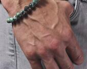 Men's Bracelet. Bead bracelet for men. Jewelry for men. Adjustable elastic bracelet. Turquoise and Black CZ Pave Bead Bracelet