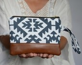 Tribal Wristlet, Wristlet Wallet, iPhone Pouch, Vegan Leather Wristlet Zippered Pouch, Cellphone Wristlet, Gift for Her, Bridesmaid Gift
