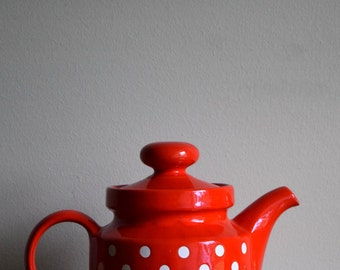 Vintage Waechtersbach West Germany Red & White Polka Dot Teapot