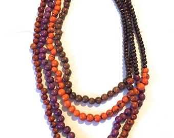 Multi Strand Acai Seed Necklace / Statement Necklace/ Boho Jewelry/ Bohemian Style