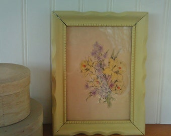 Vintage Framed Print / Daffodils / Yellow Frame Floral Print