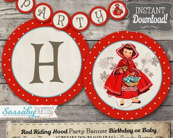 Little Red Riding Hood Party Banner - INSTANT DOWNLOAD - Editable & Printable Birthday Decorations, Decor, Bunting by Sassaby Parties