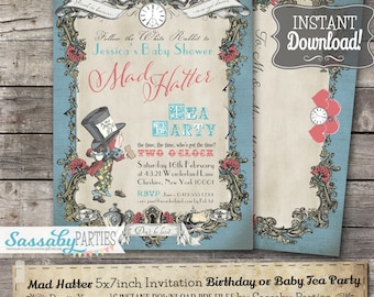 Mad Hatter Invitation - Blue Pastel - INSTANT DOWNLOAD -  Editable & Printable Alice in Wonderland Birthday Party Invite by Sassaby Parties
