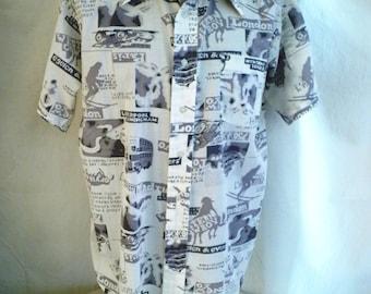 1970's Shirt Man's Disco Shirt European Vacation Novelty Print Large